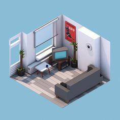 Sofa, tele, suelo