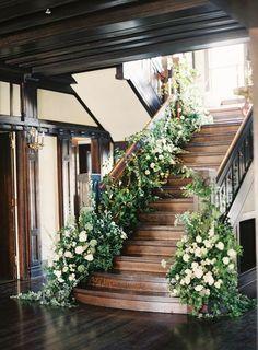 Organic Indoor Winter Wedding with Rosegolden Flowers / http://www.deerpearlflowers.com/20-best-staircases-wedding-decor-ideas/