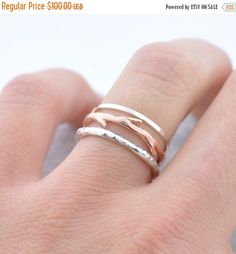 Holiday Sale Rose Gold Twig and Silver Bands by ColbyJuneJewelry