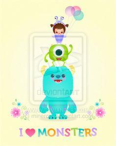 Kawaii Monsters Inc...so cute! A Randall Kawaii would be really cute too!