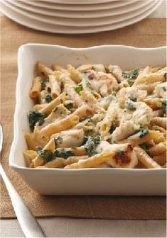 Chicken Penne Florentine Bake – What's not to love? Chicken, spinach and two kinds of cheese are baked with multi-grain pasta for a totally satisfying—and better-for-you—take on an Italian favorite.