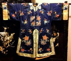 Antique Chinese Silk Embroidery Robe Embroidered Forbidden Peking Knot Qing Coat #QingDynasty