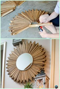 diy holz DIY Stained Wood Shim Starburst Mirror Instruction -DIY Decorative Mirror Frame Ideas and Projects Diy Wand, Diy Home Decor Projects, Diy Home Crafts, Wood Projects, Decor Ideas, Decorating Ideas, Yarn Crafts, Decorating Frames, Rope Crafts