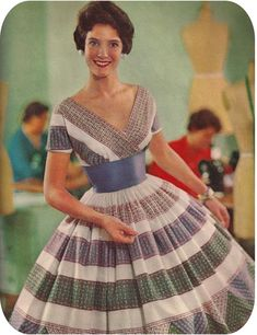vintage fashions style 50s dress day full skirt stripes print blue grey green party