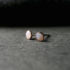Tiny bezel set rose gold and Australian opal by hartleystudio