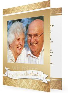 Einladungen Goldene Hochzeit, Schlicht In Gold Mit Muster