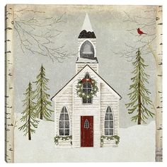 Snowy Christmas Scene, Xmas, Christmas Christmas, Canvas Art Prints, Canvas Wall Art, 2 Clipart, Old Country Churches, Canvas Home, House Canvas