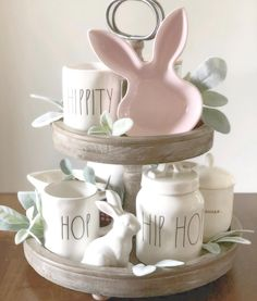 Wonderful Easter Decoration Ideas For Your Inspiration; Easter Table Decoration Ideas With Egg And Bunny; Ray Dunn, Tray Styling, Hoppy Easter, Easter Bunny, Easter Eggs, Spring Home Decor, Spring Decorations, Tiered Stand, Easter Crafts