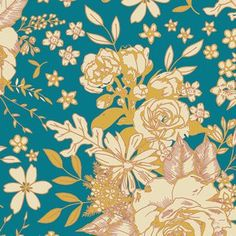 Maureen Cracknell - Soulful Rayon - Floral Universe Rayon in Turquoise