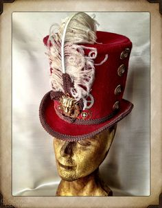 The Victorian Ringmaster Red Top Hat by ClockworkCouture on Etsy, $174.95