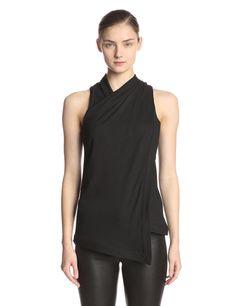 Helmut Lang Women's Twist Neck Asmetrical Hem Top at Amazon Women's Clothing store: