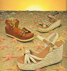 These shoes om the bottom, Laura wore on the Summer on rhe run. May 'You'll be the star this summer in these leather and rope sandals. 60s And 70s Fashion, Retro Fashion, 1977 Fashion, Seventies Fashion, French Fashion, Pop Fashion, Ladies Fashion, Mens Fashion, Fashion Tips