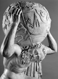 Atlas detail, The Farnese Collection, National Archaeological Museum, Naples Photographer: Luigi Spina . The Farnese Atlas is a 2nd-century Roman marble copy of a Hellenistic sculpture of Atlas...