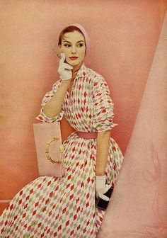1955 Charm harlequin diamond pattern novelty print pink red white 50s dress day color photo print ad model magazine hat gloves purse