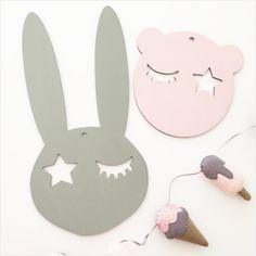 Our bunny face is made from birch plywood and has a small star cut out which can be used to hang onto the wall if desired. If a colour is selected, they are hand painted on one side using water based organic eco paint, the other side is left natural.There are 4 variations to choose from, please write your preference in the notes to seller:NaturalBlushMintGreySize40 x 20 cmAll of our products are custom made just for you. As they are hand painted, slight var...