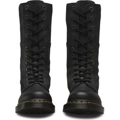 Dr. Martens Leather Hazil High Boots ($155) ❤ liked on Polyvore featuring shoes, boots, knee high leather lace up boots, laced boots, knee high leather boots, slouchy knee high boots and leather lace up boots