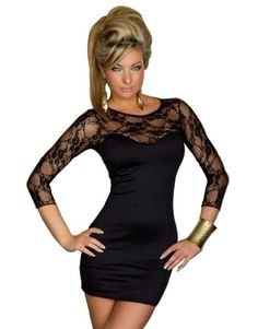 24c6d4dd6a Intimates21 Sexy Blk Lace Long Sleeves Mini Dress Clubwear Mini Dress  Clubwear