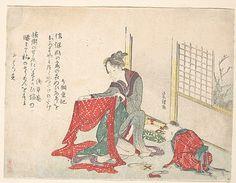 Woman Folding Cloth  Katsushika Hokusai  (Japanese, 1760–1849)  Period: Edo period (1615–1868) Culture: Japan Medium: Polychrome woodblock print (surimono); ink and color on paper