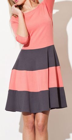 Coral & Gray Stripe A-Line Dress