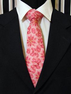 Floral Necktie, Floral Tie, Mens Necktie, Mens Tie, Pink Necktie, Pink Tie, Cotton Necktie, Contemporary Necktie, Contemporary Tie, Gift by EdsNeckties on Etsy