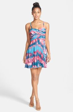 Hailey Logan Tie Dye Chiffon Skater Dress (Juniors) available at #Nordstrom