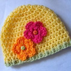 """Lakeview Cottage Kids: New FREE Pattern -- """"May Flowers"""" Crochet Baby Beanie in Size 3 - 6 months"""