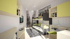 Kids Bedroom Grey/yellow