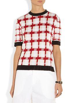 Marni|Checked cotton-blend sweater|NET-A-PORTER.COM