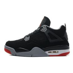 5ad9ed247bbae air jordan 4 mens retro black cement grey fire red bred for sale Nike Pas  Cher