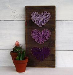 Mini Purple Hearts String Art Sign