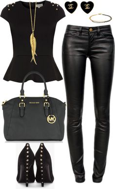 21 sexy leather looks (for winter) black and gold outfit, black gold, Mode Outfits, Casual Outfits, Fashion Outfits, Womens Fashion, Vegas Outfits, Bar Outfits, Woman Outfits, Club Outfits, Fashion 2017