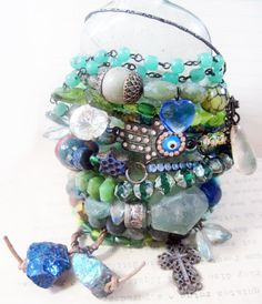 Oceantide. Tribal Gypsy Assemblage Bangle Stack in aqua turquoise blue green teal.