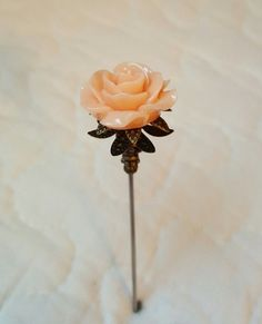 Victorian Hat Pin Vintage Inspired Peach Rose Bead Antique Brass Fittings Strong Vintage Hat Boxes, Vintage Hats, Victorian Hats, Peach Rose, Brass Fittings, Tie Pin, Hats For Sale, Love Hat, Stick Pins