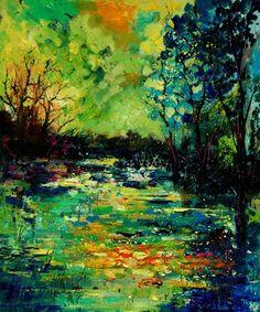 """Pond"" by Pol Ledent. Oil on canvas"