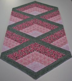 Quilted Table Runner , Country Chic Shabby Table Runner , Pink and Sage Green Floral , Lace Inserts by VillageQuilts on Etsy