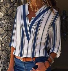 Stripe Casual V-Neckline Sleeves Blouses - Blue XL