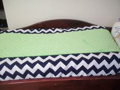 Changing Pad Cover      Navy White Chevron with Lime Green Minky on Etsy, $30.00