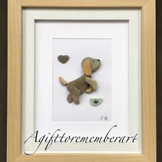"""Sold"" "" this very unique pebble art has found its new home ❤️ #agifttorememberart #pebbleart #handmadewithlove #etsy #makersgonnamake #instaart #instagood #instaphoto #giftshop #puppy #dog #frame #roomdecor #doglover #stones #art #unique #australia #madebyme #madeinaustralia #beach #interiordesign #nature #recycledart"