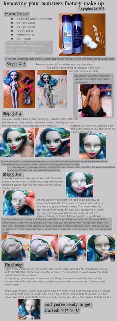 I've been asked a few times and seen plenty of people asking otherwise, how do you remove an MH doll's factory paint. So here's a basic guide to getting. How to remove Monster High factory paint, Custom Monster High Dolls, Monster Dolls, Monster High Repaint, Custom Dolls, Doll Repaint Tutorial, Doll Tutorial, Doll Crafts, Diy Doll, Barbie Makeup
