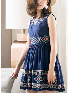 A-line Sleeveless Vintage Dress