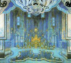 Balé: O Rouxinol. Reapresentação com novos cenários e figurinos (1916). BENOIS, Alexandre (Aleksandr Benua,1870-1960). Desenho cenográfico para a apresentação de O Rouxinol (Paris, 1909). Ballets Russes da Companhia Teatral S. P. Diaghilev (Paris, 1909-1929).