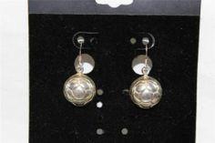 Sterling Silver soccer dangle earrings HA26