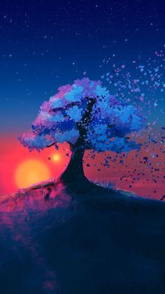 Alone Tree [Art] View Source Natur Wallpaper, Painting Wallpaper, Landscape Wallpaper, Painting Art, Sunset Landscape, Fantasy Landscape, Landscape Art, Cool Backgrounds, Wallpaper Backgrounds