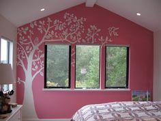 Love this! (branches painted on the wall, maybe more realistic ones, would be a great base for appliqueing fabric birds, etc. onto wall)