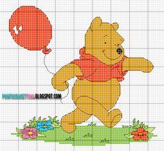 Schema Punto Croce Winnie the Pooh con Palloncino