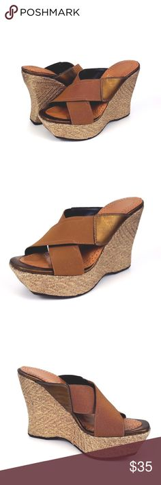 Donald J Pliner Espadrille Wedge Sandals Donald J Pliner cross strap espadrille wedge sandals. Size 7.5 M. Top leather strap rubbed on underneath straps, creating mark. Donald J. Pliner Shoes Wedges