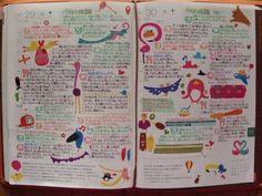 Hobonichi planner - love the use of different colored pens and fun stickers to break up blocks of text.