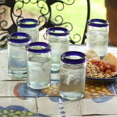 Novica Artisan Crafted Cobalt Drinking es Set 6