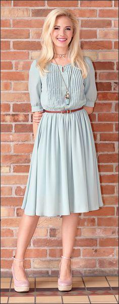 This is one of my favorites on ModestPop.com: Clara Dress (Sage)