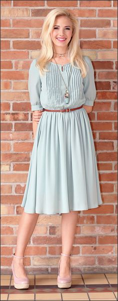 This is one of my favorites on ModestPop.com: Clara Dress (Sage)
